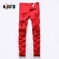 2016 New Arrivle Mens Hip Hop Red Pants With Knee Zipper Male Hole Ripped Straight Trousers Slim Fit Casual Pants For Men