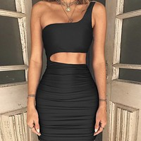 Sexy Night Shop Buttock Dresses with New Single Shoulder Dresses Black