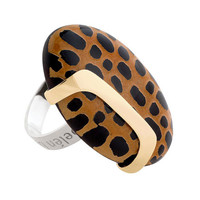 GISELLA (1): Contemporary Silver and Gold and Leopard Design Statement Ring