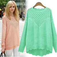 Hollow long-sleeved sweater AS107C