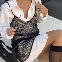 GUCCI GG black mesh embroidered alphabet lace sexy suspender skirt