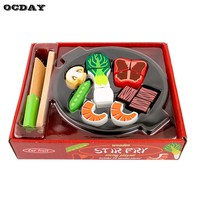 Hot ! OCDAY Wooden Design Baby Kids Kitchen Toys Early Education Kids Cutting Vegetables Cooking Toys Pretend Play Kitchen Toy