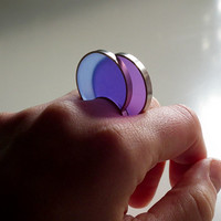 Resin Sterling Silver Ring  Big Oh by IvanaartJewellery on Etsy