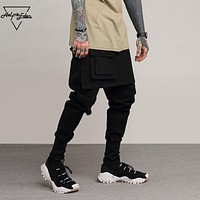 Skinny Black Casual Track Pants Men Fake Two Pieces Trousers Male Punk Hip Hop Sweatpants