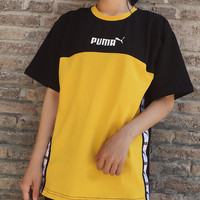 Puma stitching ribbon short sleeved T - shirt men and women