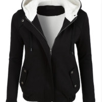 Fuzzy Lined Zip Up Jacket