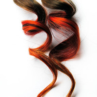 Human Hair Extension, Spring extension hair, hair extension, brown, red, orange clip in hair, Tie Dye Colored Hair - Bonfire