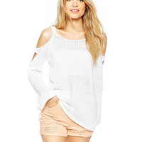 Off Shoulder Cutout Horn Sleeves Knitted Top