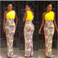 Floral Printed High Waist Yellow Maxi Dress
