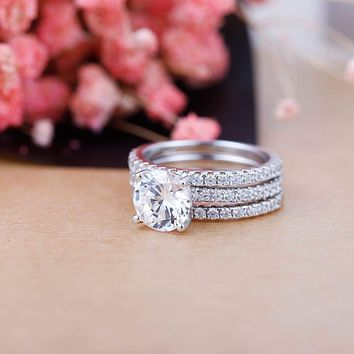 GEM'S BALLET 925 Sterling Silver Four Prong Moissanite Engagement Ring For Women Jewelry 2.0Ct 8mm Round Solitaire Set 3 Band