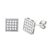 Sterling Silver Micropave Stud Earrings Square Clear CZ Cubic Zirconia 7mm x 7mm