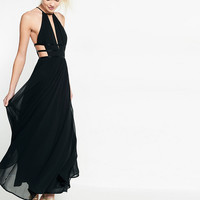 Strappy Cut-Out Plunge Maxi Dress
