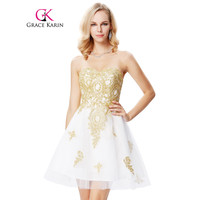 Golden Appliques Short Prom Dress 2017 White Sweetheart Robe De Soiree Knee Length New Arrival Formal Party Gowns Evening Dress