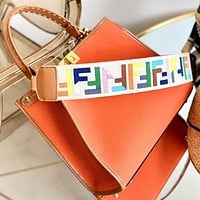 Fendi Fashion New Letter Leather Shoulder Bag Crossbody Bag Handbag Orange