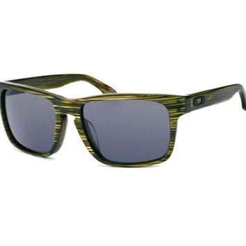 Oakley OO 2048-03 POLARIZED HOLBROOK LX Banded Green Grey Mens Sunglasses in Box
