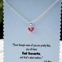 Pitch Perfect Graduation Card with Fat Amy Fat Heart Quote and Heart Necklace