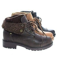 Trevor07 By Bamboo, Lace Up Ankle Combat Boots w Lug Threaded Sole & Sweater Trim
