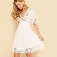 Lace Trim Eyelet Embroidered Dress Women White Deep V Neck Half Sleeve Cut Out Plain Dress Sexy Cotton Dress