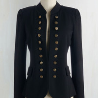 Military Mid-length Long Sleeve I Glam Hardly Believe It Blazer in Black
