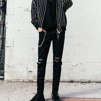 Black Embroidery Slim Fit Ripped Jeans Europe America Mens High Street Knee Hole Letters Rough Edge Cut Out Denim Pants