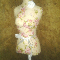 """Boutique dress form 22"""" designs Cream Cottage Rose Shabby chic jewelry holder pin cushion craft show booth display wedding centerpiece"""