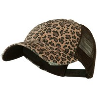 Low Profile Canvas Leopard Printed Mesh Cap - Brown W40S52B BROWN One Size