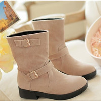 falt half short sexy boots  snow botas sweet quality footwear cotton round toe warm boot shoes P19373 size 34-40