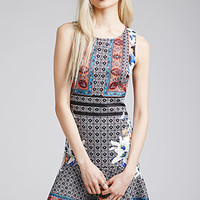 Mixed Print Fluted Dress