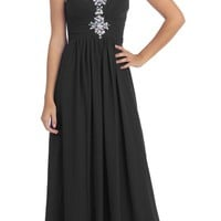 CLEARANCE - Studded Ruched Bodice Floor Length Black Formal Gown (Size Small)
