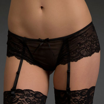 Mesh & Lace Boyshort with Garters