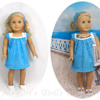 """18"""" American Girl Dolls Clothes Blue Turquoise Lace Dress, Swimsuit Cover Up Beach Dress Optional Beach Bag"""