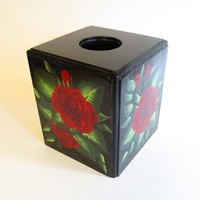 Red Roses Wooden Tissue Box Cover