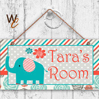 """Nursery Sign, Elephant Girls Room Sign, Personalized Sign, Kid's Name, Kids Door Sign, Baby Nursery Art, 5"""" x 10"""" Sign, Made To Order"""