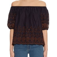Floral-embroidered off-the-shoulder top   See By Chloé   MATCHESFASHION.COM US