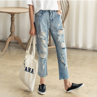 Denim Light Blue Ripped And Frayed High-Wasited Pants