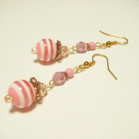Pink stripe earrings, pink dangle earrings, pink beaded earrings, stripe earrings, gift for her, kawaii earrings, cute earrings.