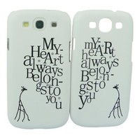 """Comkes 2 Pieces Luxury Giraffe Heart Hard Lovers Couple Case """"My Heart Always Belongs To You"""" Cover Skin for Samsung Galaxy S3 S III i9300 i9308 Valentine"""