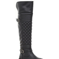 Quilted Over The Knee Boots with Buckle Straps
