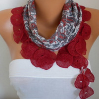 ON SALE - 50% OFF - Paisley Scarf Red Scarf Women Scarf Shawl Scarf Cotton Scarf Gift - fatwoman