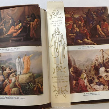 1961 King of Kings Holy Bible, Clarified Edition King James Illustrated, Vintage Christian Family Bible, Green Leather Cover, Religious Book