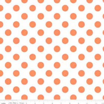 Neon Orange Dots Fabric, Riley Blake C490 Medium Dots,  Orange and White Dots, Orange Cotton Dots Fabric