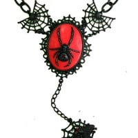 Black Widow & Spider Web Cameo Gothic Necklace by Too Fast Jewelry