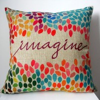 Decorbox Cotton Linen Square Decor Throw Pillow Case Cushion Cover Colorful Imag...