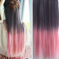 Uniwigs Ombre Dip-dye Clip in Hair Extension 65cm Length Black to Pink Straight for Teen Girls Tbe0001