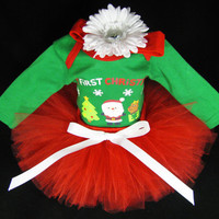 Baby Girl Christmas Outfit - Green 1st Christmas Set - My First Christmas Santa - Girls Tutu Bodysuit Set - Size 3-6 Months - CT1104