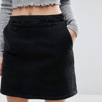 ASOS PETITE Denim A line Skirt in Washed Black at asos.com