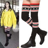 Pointed Toe Sock Over-knee Length Flat Long Boots