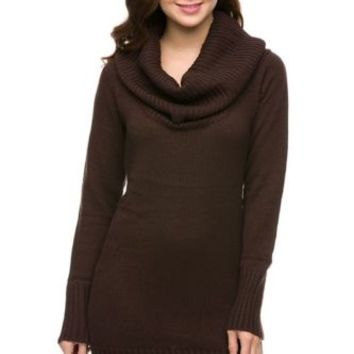 Ambiance Chocolate Brown Cowl Neck Knit Sweater Dress Long Sleeves S M L
