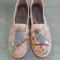 Queen of the Flock Hand Painted Birds Womens Canvas Flats Shoes Slip On Vans Style wit