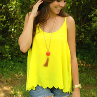 Sunshine Scalloped Tank - Bright Yellow